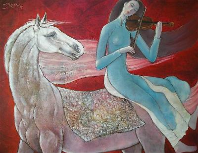 NguyenKhai-Violin Memory-oil on cavas